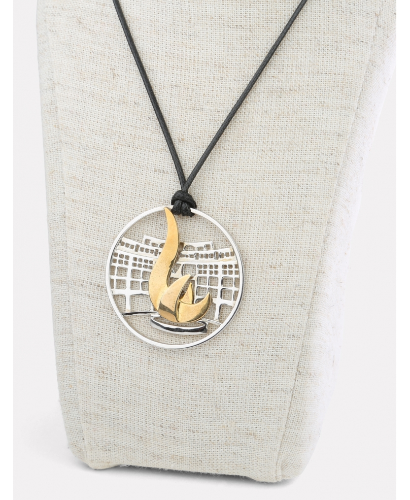 HKUST Gold Plated Sundial Pendant Leather Necklace